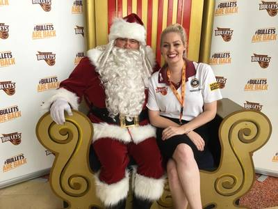 Santa with Brisbane Bullets Promotions Manager