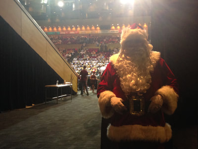 Santa just about to go onto center court